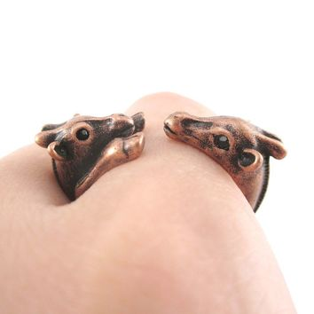 Giraffe Mother and Baby Animal Wrap Around Ring in Copper | US Sizes 5 to 9