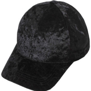 Crushed Velvet Black Valentine's Day Baseball Hat
