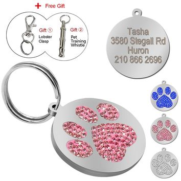 Glitter Paw Pet ID Tags Custom Personalized Engraved Name Phone Number Tag for Dog & Cat Pet Collar Accessories With Free Gift