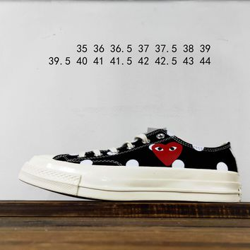 Kuyou Fa19630 Cdg X Converse Chuck Taylor 70s Hi/ox 18ss8 Black Low Top Canvas Shoes