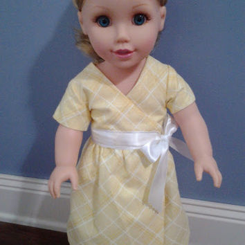 """18"""" Doll Clothes, 18 Inch Doll Clothes, Easter dress for Doll, Easter Sunday Gift, 18 Inch Doll Dress, Yellow Doll Dress, Girl Birthday"""