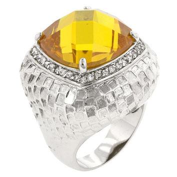 Citrine Dome Cocktail Ring, size : 06