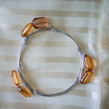EMBRACE - Amber & Silver Wire Wrapped Bangle Stackable Bracelet Bourbon and Bowetie Inspired