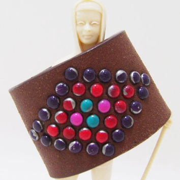 Boho Cuff Bracelet - Brown Leather Cuff with Color Accents - Ladies Size Small