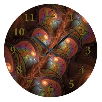 Colorful Fluorescent Abstract Modern Brown Fractal Large Clock