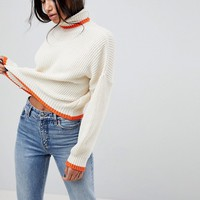 ASOS Chunky Crop Jumper With High Neck And Tipping at asos.com