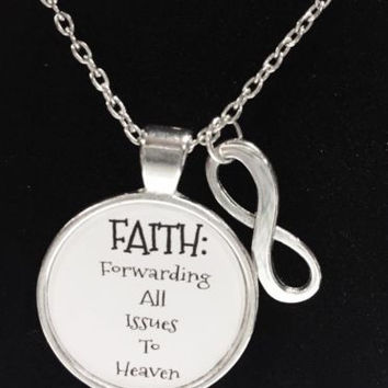 Faith Forwarding All Issues To Heaven Inspirational Religious Quote Necklace
