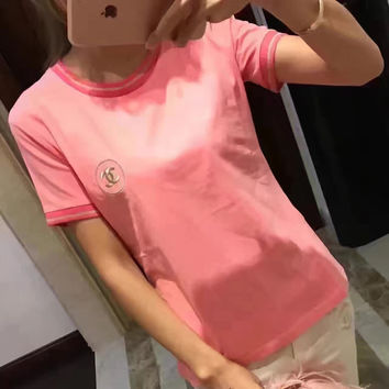 Chanel Gold Embroidery Logo Pink T-Shirt