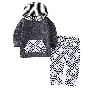 New arrival fashion Tracksuit Autumn Winter Hooded Tops Pants Baby Girls Boys 2pcs Outfits clothes Set