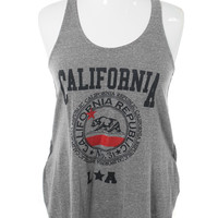Plus Size Quality California Grey Tank Top, Plus Size Clothing, Club Wear, Dresses, Tops, Sexy Trendy Plus Size Women Clothes