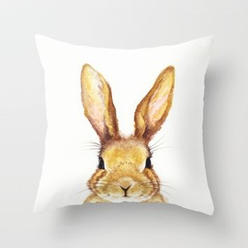 Miss Bunny Throw Pillow by Kathleen Wong