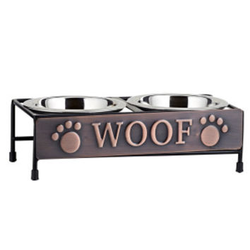 """Top Paw® """"Woof"""" Double Diner Dog Bowl"""