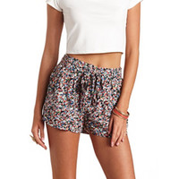 BELTED FLORAL PRINT HIGH-WAISTED SHORTS