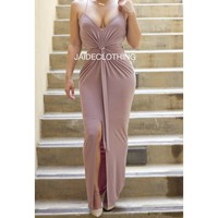 Mauve Front and Center Tie Dress - Jaide Clothing