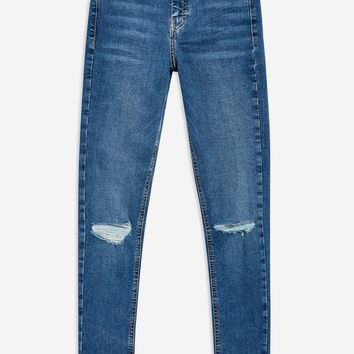 Mid Blue Ripped Jamie Jeans | Topshop