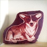 Corgi dog pillow hand printed with inkodye one of a kind ooak raspberry maroon purple color