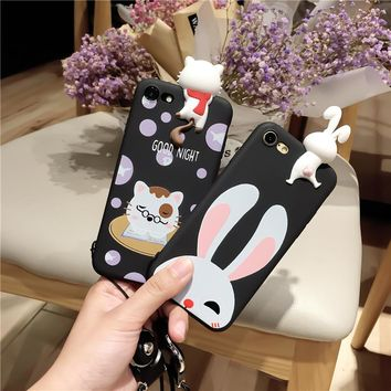 3D Lovely Cute Pet Cat Rabbit Soft Silicon Case for iPhone X 8 6 6s 7 Plus TPU PC Funny Love Back Cover Phone Coque Funda Covers