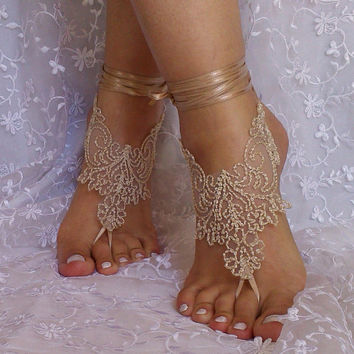 Beige burlap a little bit gold lace barefoot sandal free ship rustic wedding