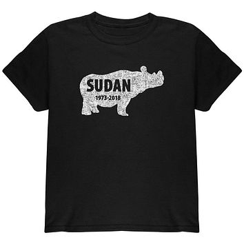 Sudan Last Male White Rhino Silhouette Youth T Shirt