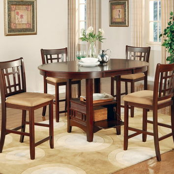 5 pc lavon collection cherry finish wood oval top counter height dining table set with leaf