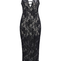 Black Lattice V-neck Split Side Lace Maxi Dress