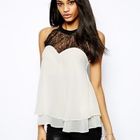 Lipsy Swing Top with High Lace Neck