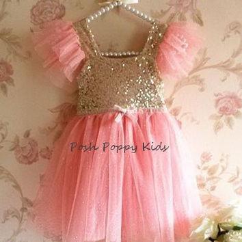 Flower Girl Dress, Pink and Gold Flower Girl Dress, Blush Flower Girl Dress, Baby Girl Party Dress, Pink and Gold Sequin Princess Dress