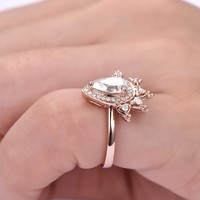 Pear Moissanite Engagement Ring Pave Diamond Wedding 14K Rose Gold 5x8mm