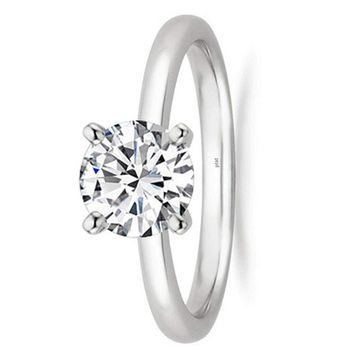 1/2 - 2 Carat GIA Certified Platinum Solitaire Round Cut Diamond Engagement Ring (D-E Color, VS1-VS2 Clarity)