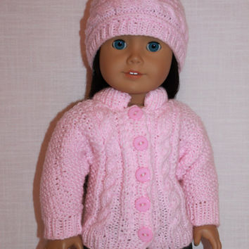18 inch doll clothes, hand knit pale pink sweater with cables, pink hand knit hat with cable, Upbeat petites
