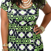 Ivory Green Plus Size Trendy Princess Cut Neon Tribal Print Peplum Top