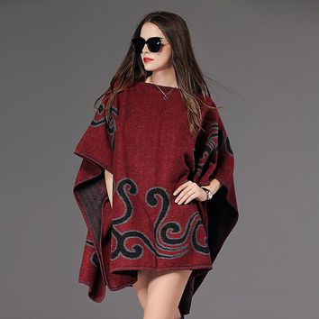 Women's Pullover Sweater Poncho Sweater