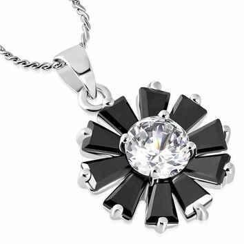 """Black Peony"" Cubic Zirconia Flower Pendant Necklace"