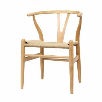 Mid-Century Modern Wishbone Chair - Natural Wood Y Chair (Set of 2) By Baxton Studio