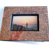 Vintage OOAK Mirror Mosaic Picture Frame Salmon Tinted Irregular Glass Squares 9x7 REFLECTION FRAME Artisan P.M. Andry 4x6 Photo Brutalist