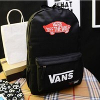 Vans Backpack Popular logo south Korean skateboard canvas double shoulder backpack college students' schoolbag youth fashion trend movement