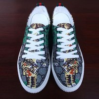 GUCCI Popular Women Men Casual Tiger Print Sport Running Shoe Sneakers I12239-1