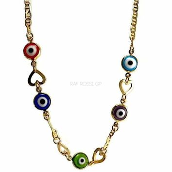 Heart Evil Eye Mariner Gold Plated  Necklace 18L""