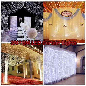 Linkable LED 6m*3m Window Curtain String Lights Icicle Fairy Lights Party Wedding Lawn Garden Decorations