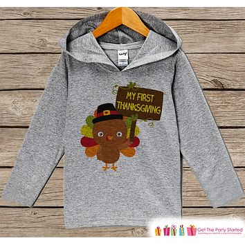First Thanksgiving Outfit Boy - Baby's My First Thanksgiving Hoodie - Baby Boy Turkey Day Shirt - Kids Grey Pullover - Infant Thanksgiving