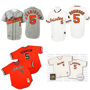 White grey orange black 1970 Throwback Brooks Robinson Authentic Jersey , Men's #5 Mitchell And Ness Baltimore Orioles
