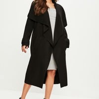 Missguided - Black Oversized Waterfall Duster Jacket