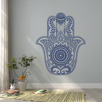 Hamsa Mandala Wall Decal- Fatima Hand Wall Decal Stickers- Indian Hamsa Wall Decal Bohemian Bedroom Yoga Studio Decor Hamsa Wall Art #32