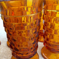 Amber CubistTumblers Whitehall Cube Drinking Glasses Footed Pedestals