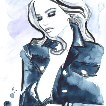 Print from Original Watercolor and Pen Fashion Illustration Modern Art Painting, November Rain