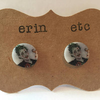 Handmade Plastic Fandom Earrings - Comic Pinup - Joker