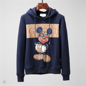 GUCCI x Mickey Mouse co-branded autumn and winter men's simple printed sleeve long-sleeved hooded sweater Blue
