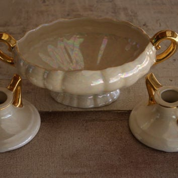 Ceramic Iridescent Glaze Pearl Pottery Dresser Set Containing Oval Handled Console Bowl And Matching Candlesticks Pattern Number 472