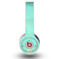 The Bright Teal WaterColor Panel Skin for the Original Beats by Dre Wireless Headphones