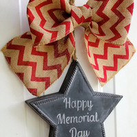 Patriotic Burlap Sign CHALKBOARD  Star Door Hanging with Red Chevron Bow Memorial Day Wreath 4th of July Independence Front Door Decoration